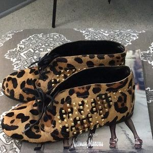 Jessica Simpson Cow Hair Leopard Print Booties